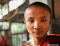 Close up of Asian boy, a monk,  with red robe on shoulder and he has a pleased look on his face.  Very short cropped hair.